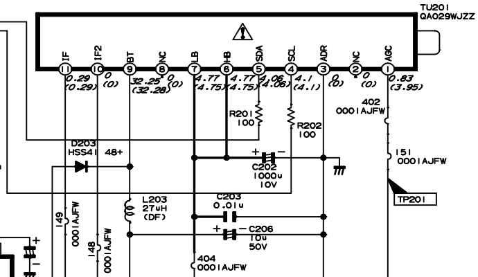 skema tuner dengan SDA SCL