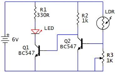 rangkaian sensor cahaya sederhana