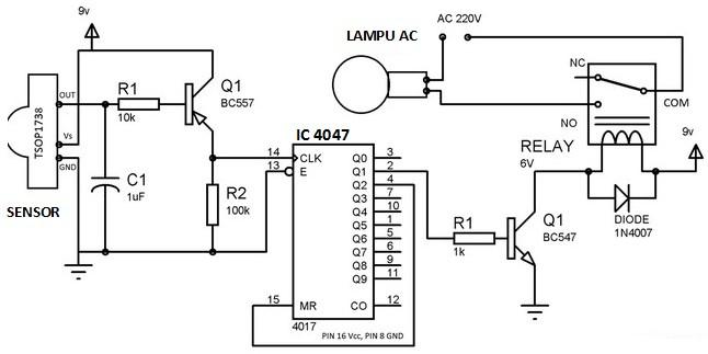 rangkaian remote kontrol lampu