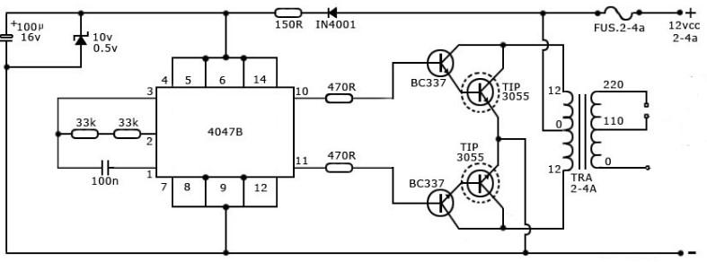 rangkaian inverter sederhana