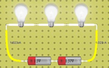 rangkaian seri 3 lampu