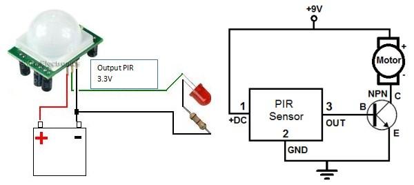Rangkaian sensor gerak dengan transistor
