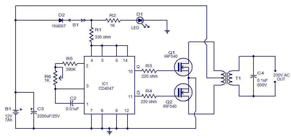 Skema Rangkaian Inverter 100 Watt
