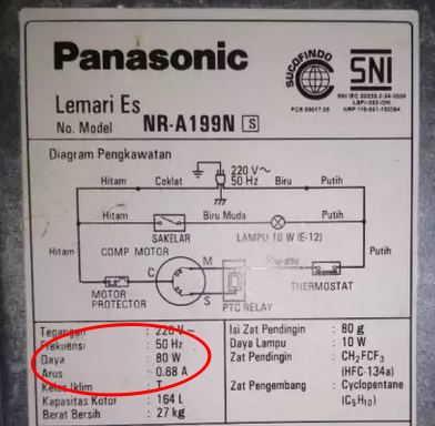 penggunaan daya listrik kulkas