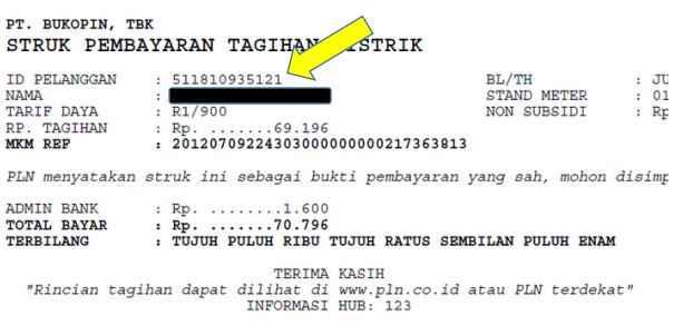 Cek ID Pelanggan PLN dengan Struk