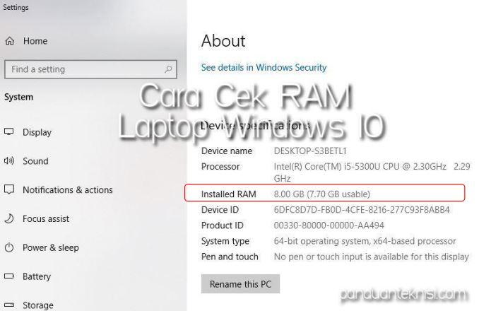 Cara Cek RAM Laptop Windows 10