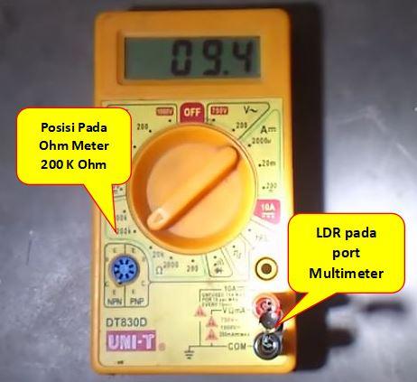 cara mengukur ldr pada kondisi terang
