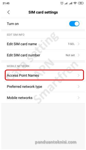 cara setting APN smartfren unlimited