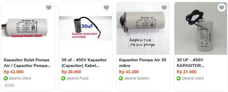 harga kapasitor pompa air 30 uF