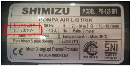 kapasitor pompa air shimizu ps 128