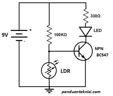 rangkaian lampu otomatis dengan LDR