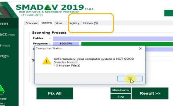 menampilkan file disembunyikan virus