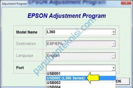 tutorial Epson L360 Resetter pilih port