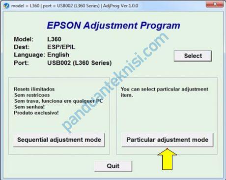 tutorial reset Epson L360 particular adjusment mode