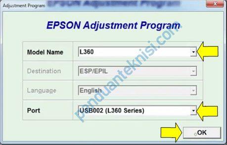 tutorial reset printer Epson L360 pilih model port