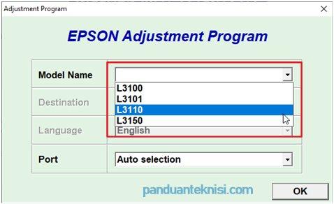 Cara Reset Epson L3310 pilih model