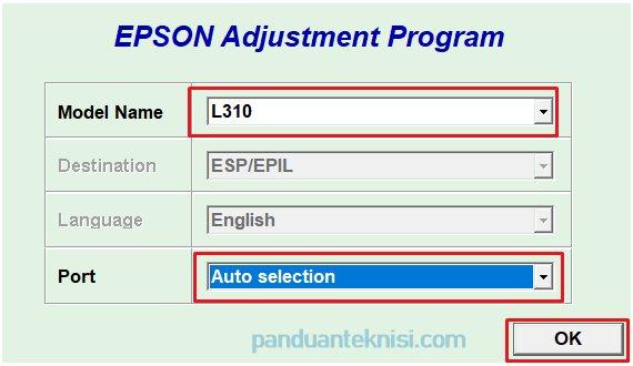 Download Resetter Epson L310 - pilih port