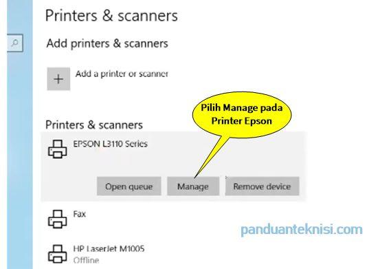 Cara Cleaning Printer Epson windows 10 manage printer